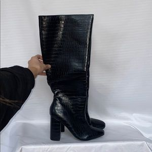 Faux croc loathed knee high booties